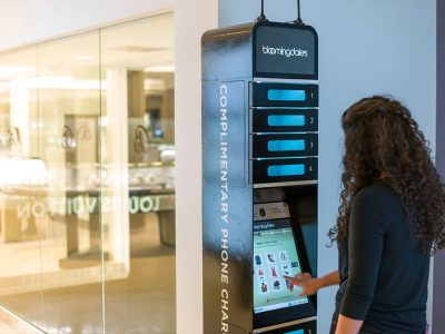 Phone charging station Bloomingdale's retail stores